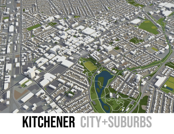 3D city kitchener surrounding - model