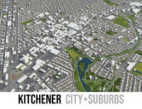 3D city kitchener surrounding - model