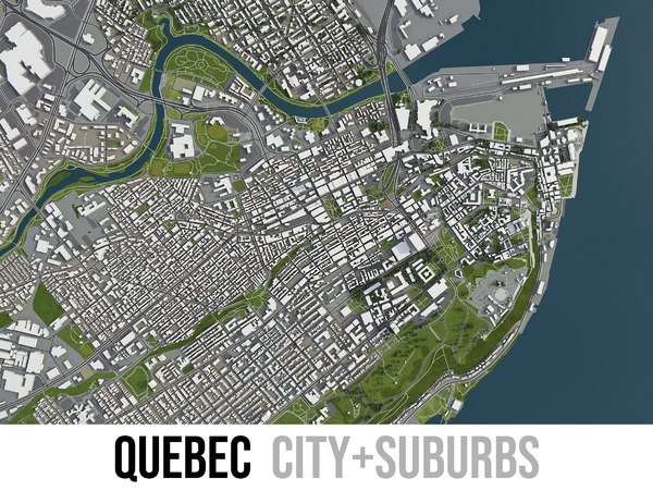 3D city quebec surrounding -