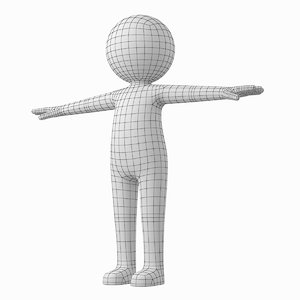 adult stylized stickman t-pose 3D model