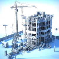 generic white building construction 3D model
