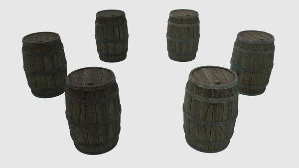 3D low-poly wooden barrels pbr