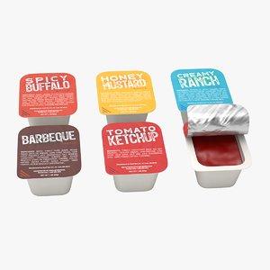 3D sauce cups ketchup