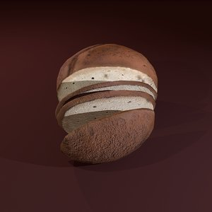 3D sliced bread model