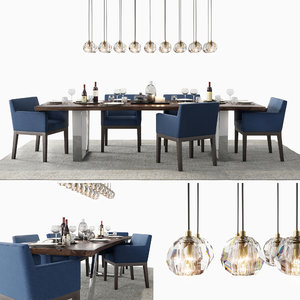 3D model modern dining set blue