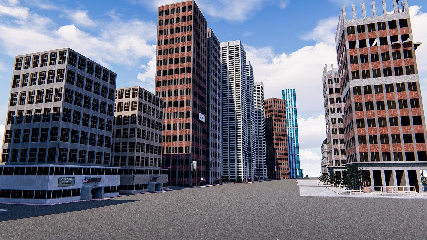 3D office buildings skyscrapers