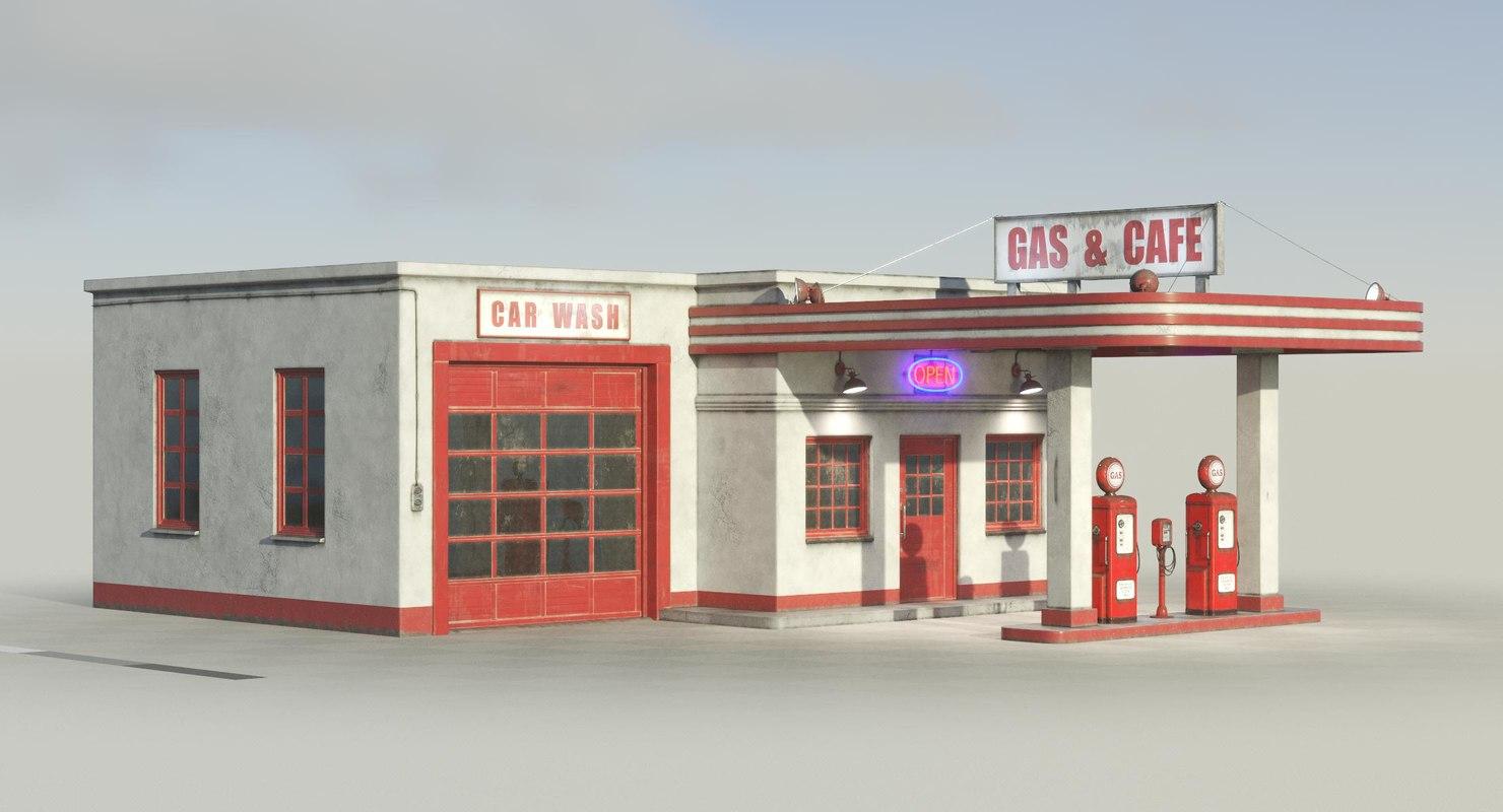 3D model vintage gas station - TurboSquid 1406950