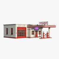 3D model vintage gas station