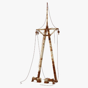 old rusty mast rusted 3D model