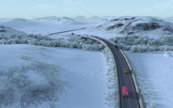 3D model road snow trans-siberian terrains