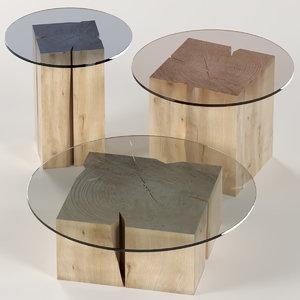 3D model set tables slab stump