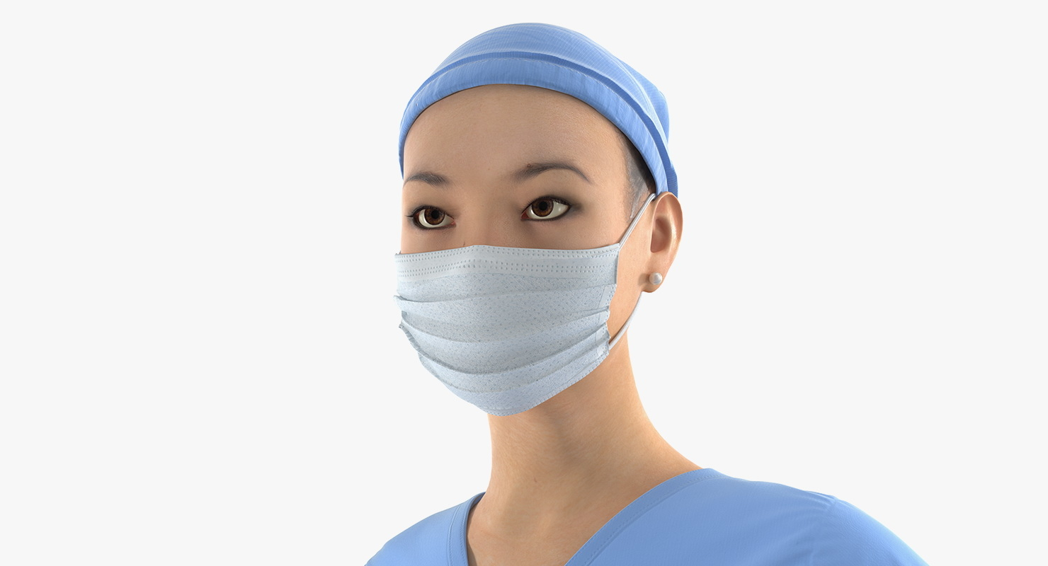 Asian Female Surgeon Rigged 3d model