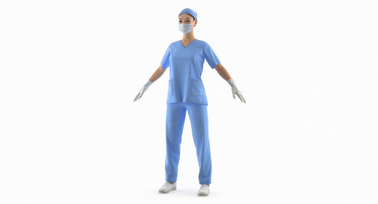 3D model asian female surgeon rigged
