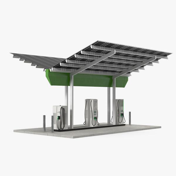 solar battery charging station 3D model