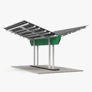 3D model solar panel charging station