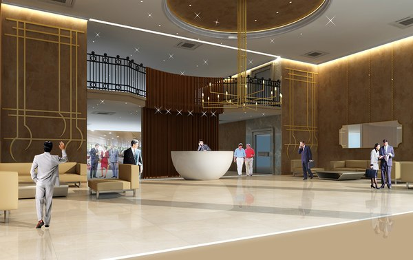 3D lobby hotel model