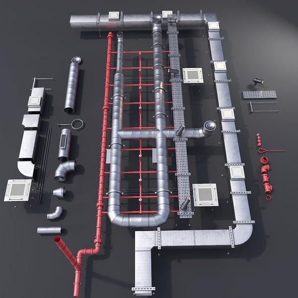 pipe ceiling 3D model