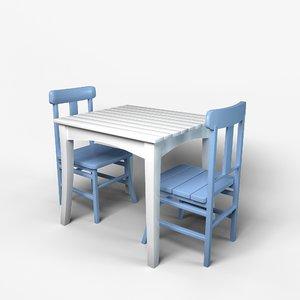 3D table picnic wood