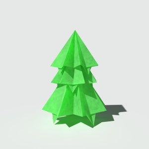 3D ready origami pine model
