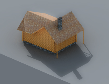 3D forest house mountain model