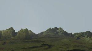 3D model mossy rock terrain
