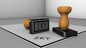 3D model wood stamp