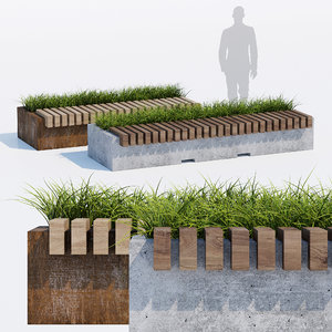 3D big green benches model