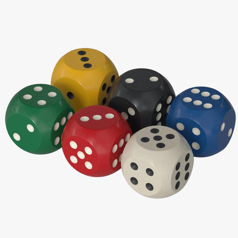 3D dice plastic model