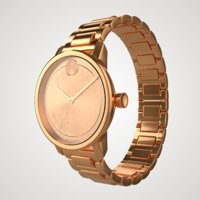 rose movado bold wrist watch 3D
