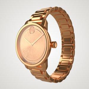 rose movado bold wrist watch 3D