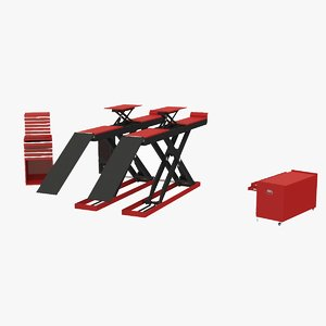 3D scissor automotive lift model