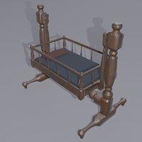 antique medieval cradle 3D