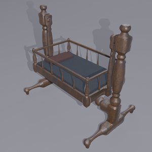 antique medieval cradle 3D