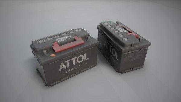 realistic car battery 3D