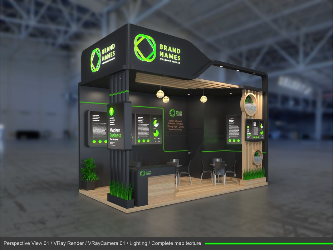 3D exhibition stand 6x3m model