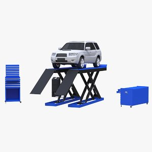 scissor automotive lift car scene 3D model