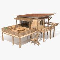 wood cabin model