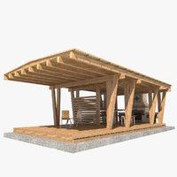 3D garden pergola extension model