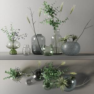 3D decorative branch set 02 model