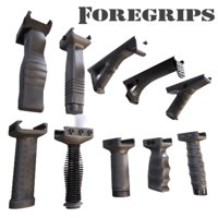 3D model rifle foregrips vertical grips