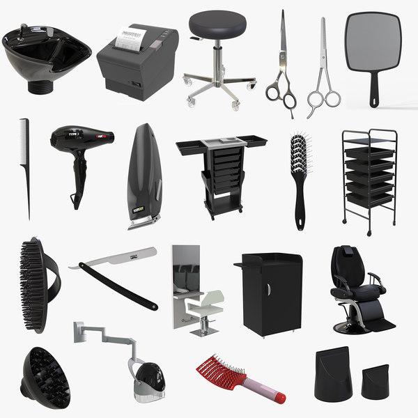 3D hairdresser accessories equipments hair