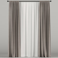 tulle brown curtain model