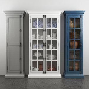 french casement 2-door cabinet 3D