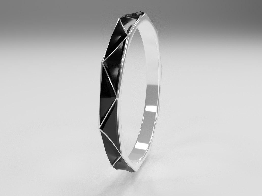 ring silver onix 3D model