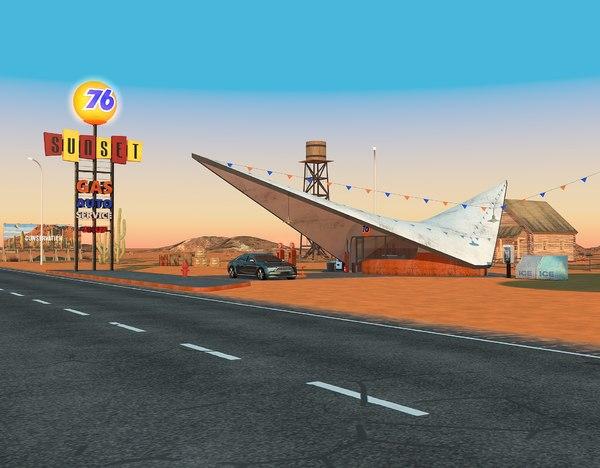 3D scene gas station diner model