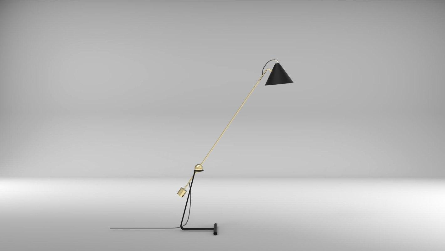 modern cantilever floor lamp 3D model