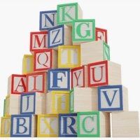 wooden alphabet blocks 3D