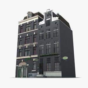 3D old classic amsterdam building
