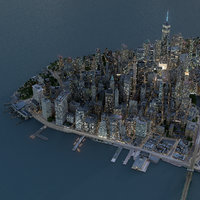 Manhattan Lower Night Low Poly