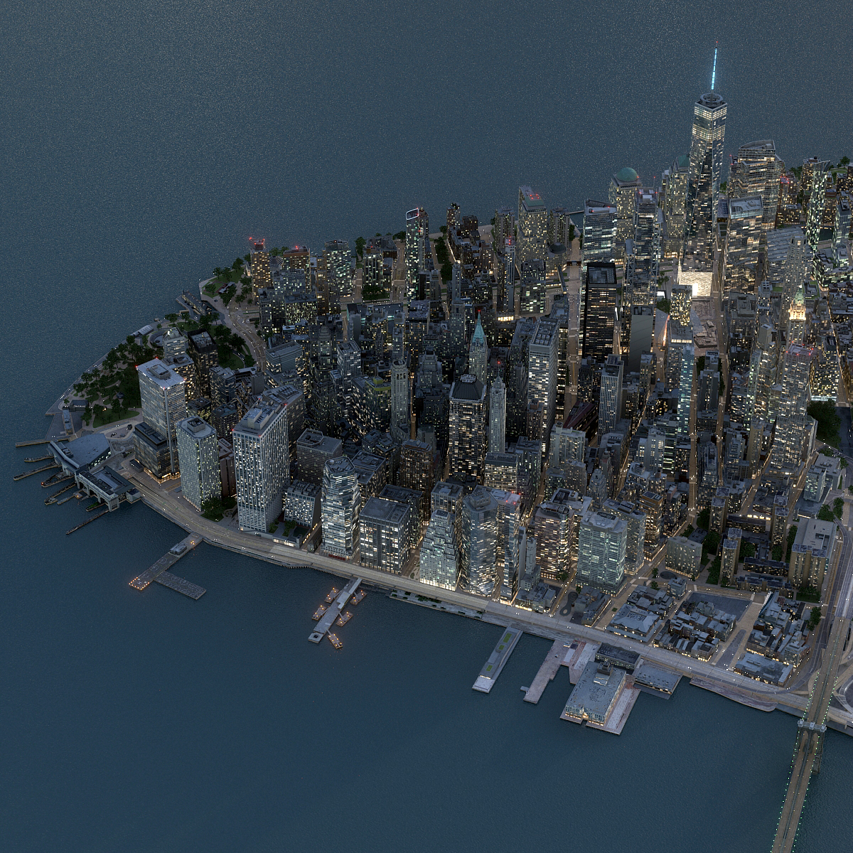 3D manhattan lower night